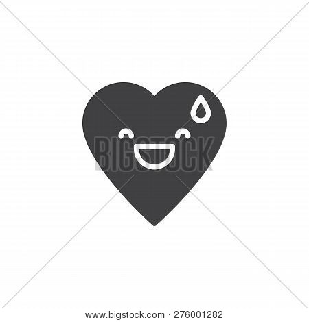 Grinning Face With Sweat Emoticon Vector Icon. Filled Flat Sign For Mobile Concept And Web Design. G