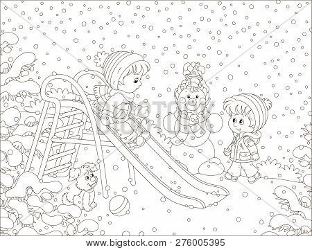 Kids Playing On A Toy Slide On A Snow-covered Playground In A Winter Park, Black And White Vector Il