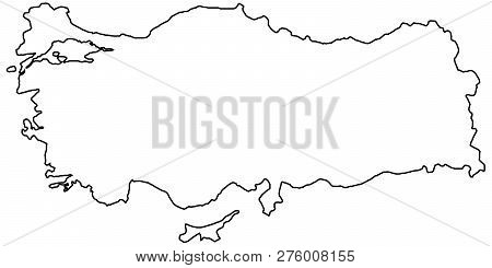Outline Of The Country Of The State Of Turkey, Vector Of The Border Outline Of The State Of Turkey