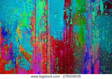 Extreme Colorful Wooden Wall With Old Weathered Blue Pink Red Green Colors