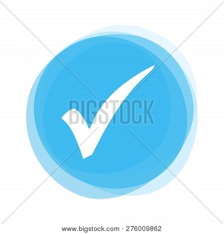 Round Light Blue Button With White Tick Icon Showing Check Okay