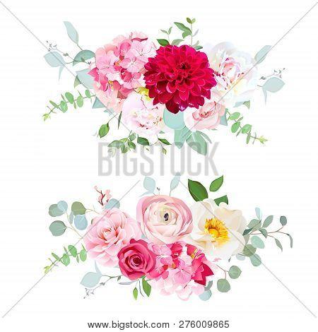 Red Dahlia, Pink Hydrangea, Rose, White Peony, Camellia, Ranunculus, Eucalyptus And Greenery Vector