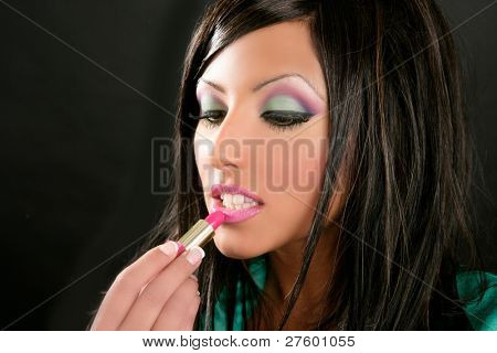 fashion brunette with pink makeup lipstick retro  style