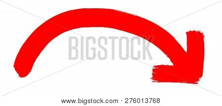 Isolated Hand Drawn Red Arrow With Curve