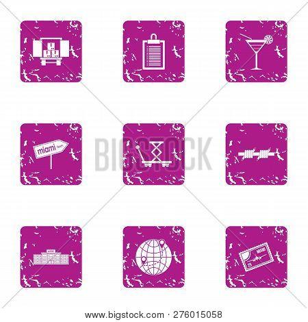 Biz Delivery Service Icons Set. Grunge Set Of 9 Biz Delivery Service Icons For Web Isolated On White
