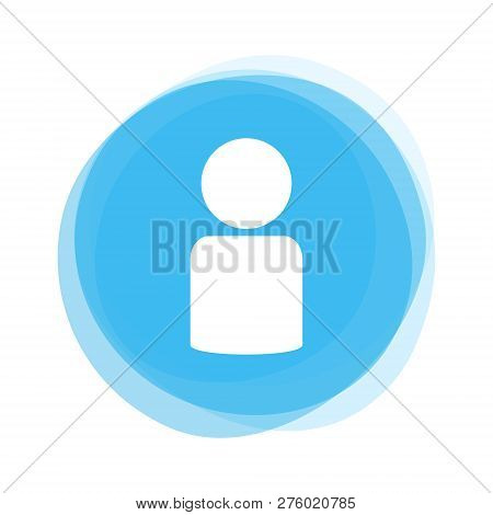 Round Light Blue Button Showing White Person Icon