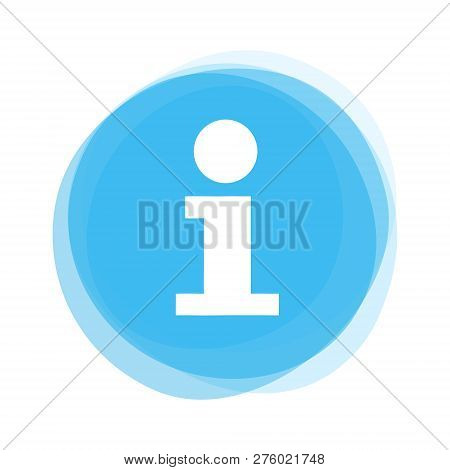 Isolated Light Blue Round Button With Info Icon