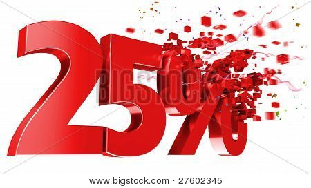 Explosive 25 Percent Off On White Background
