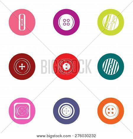 Pushbutton Icons Set. Flat Set Of 9 Pushbutton Icons For Web Isolated On White Background