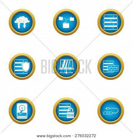 Data Stronghold Icons Set. Flat Set Of 9 Data Stronghold Icons For Web Isolated On White Background