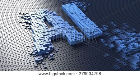 3d Rendering Of Small Blue Boxes Forming The Ai Letters Artificial Intelligence - Illustration