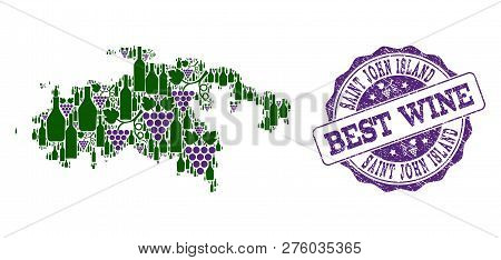 Vector Collage Of Grape Wine Map Of Saint John Island And Grunge Stamp For Best Wine. Map Of Saint J