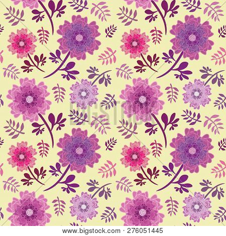 Elegant Pink And Purple Flowers And Leaves Seamless Vector Repeat Pattern On Soft Yellow Background.