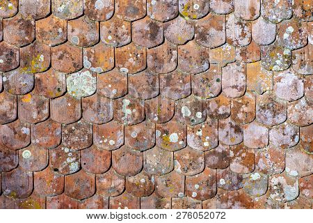 traditional red roof tiles as harmonic background poster