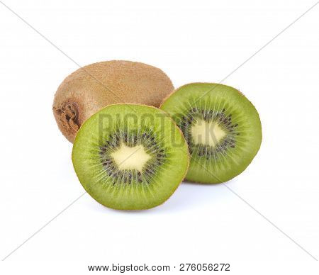 Kiwi Fruit On White Background.kiwi Is Hight Vitamin Fruit.