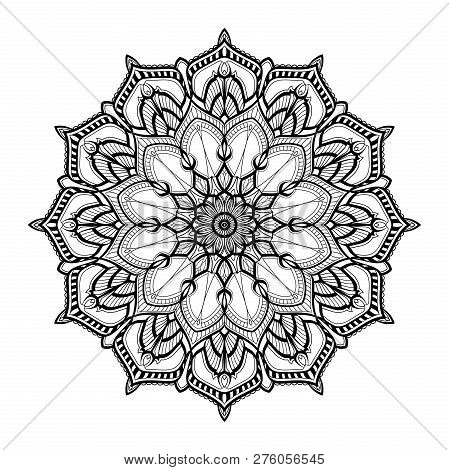 Monochrome Geometrical Vector Mandala Is Isolated On A White Background. Decorative Element With Eas