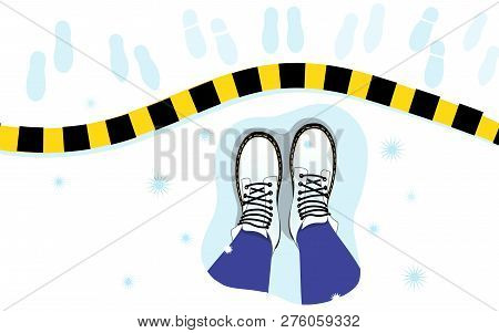 Vector Illustration Of The Top View Of The Female Legs, Boots On The Snow, Stripe, Footprints. The P
