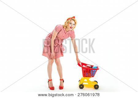 Family Shopping Online. Happy Retro Woman Go Shopping. What Do You Think About This. This Is For You