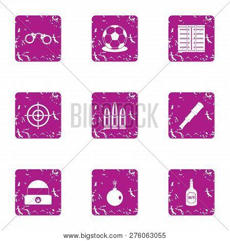 Seizure Icons Set. Grunge Set Of 9 Seizure Icons For Web Isolated On White Background