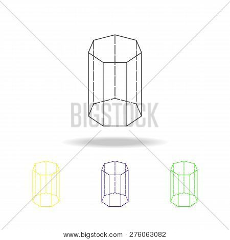 Heptagonal Prism Colored Icon. Can Be Used For Web, Logo, Mobile App, Ui, Ux