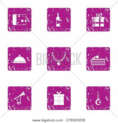 Costly Icons Set. Grunge Set Of 9 Costly Icons For Web Isolated On White Background