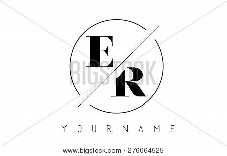 Er Letter Logo With Cutted And Intersected Design And Round Frame Vector Illustration