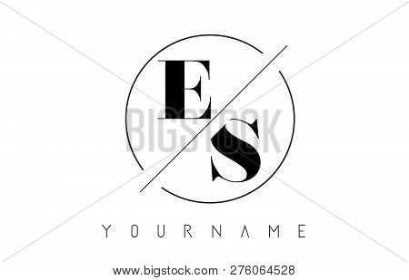 Es Letter Logo With Cutted And Intersected Design And Round Frame Vector Illustration