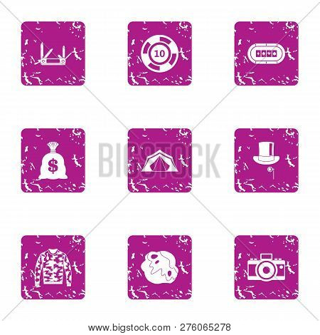 Speculate House Icons Set. Grunge Set Of 9 Speculate House Icons For Web Isolated On White Backgroun