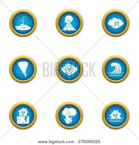 Devastated Land Icons Set. Flat Set Of 9 Devastated Land Icons For Web Isolated On White Background
