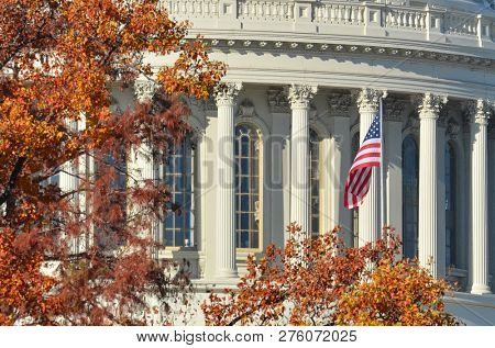 United States Capitol Dome in autumn - Washington DC United States of America