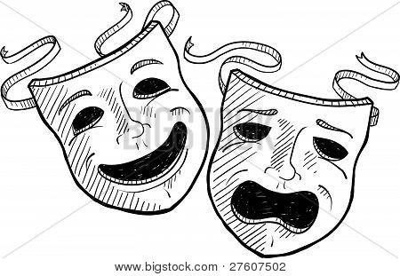 Drama masks sketch
