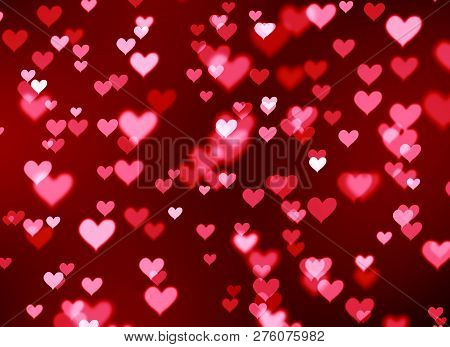 Blurred Background Bokeh Red Hearts, Valentine's Day