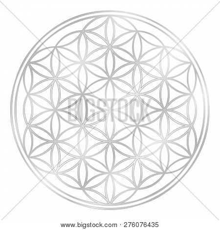 Silver Flower Of Life, Used For Decoration Or Silver Pendant. Geometrical Symbol On White Background