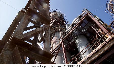 Structure Of Chemical Plant. Close Up Industrial View At Oil Refinery Plant Form Industry Zone With