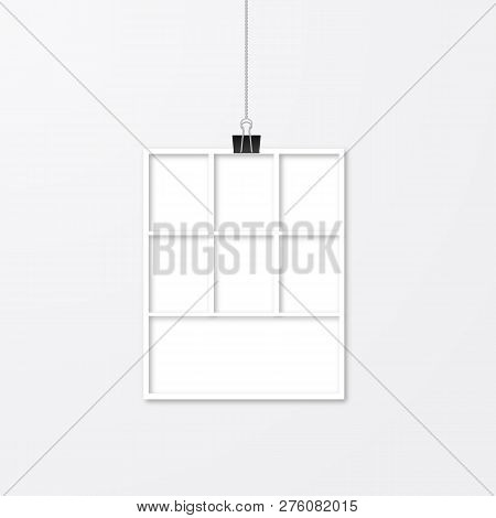 Realistic Photo Frame Hanging With Binder Clips. Paper Cut Effect. Vector Collage Template Isolated