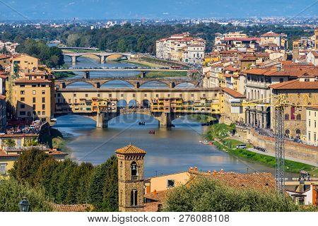 Bridges Arno River Ponte Vecchio Florence Tuscany Italy. Ponte Vecchio originally built in Roman times, rebuilt in 1345. poster