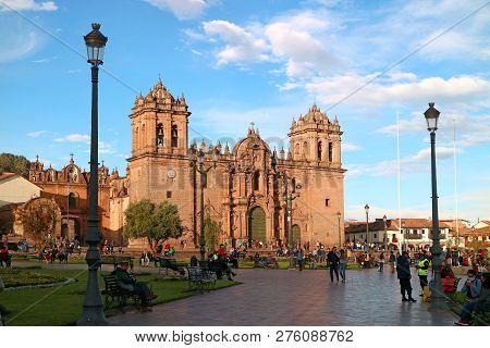 The Main Square Of Cusco, Plaza De Armas With Its Famous Landmark, Cusco Cathedral, Cusco, Peru, Sou