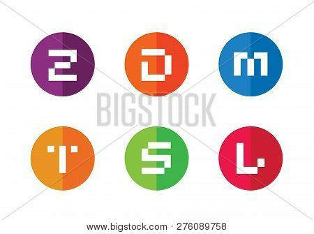 Abstract Symbol Of Letter Z, D, M, T, S, L. Set Of Alphabet Logotype Logo Icons