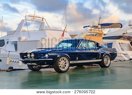 Palma De Mallorca, Spain - October 24, 2013: Classic Rare American Muscle Car, Vintage Blue Ford  Mu
