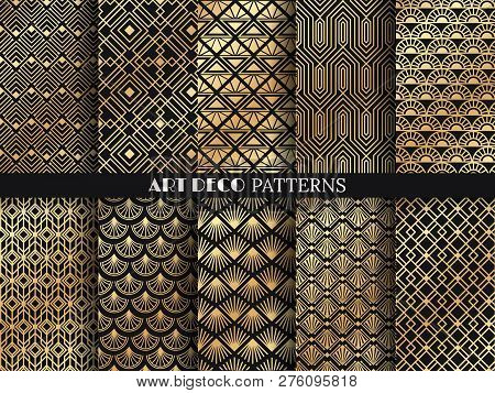 Art Deco Pattern. Golden Minimalism Lines, Vintage Geometric Arts And Deco Line Ornate Seamless Patt