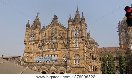 Mumbai, India -february 3, 2016: Historic Railway Station Chhatrapati Shivaji Terminus In Mumbai, Un