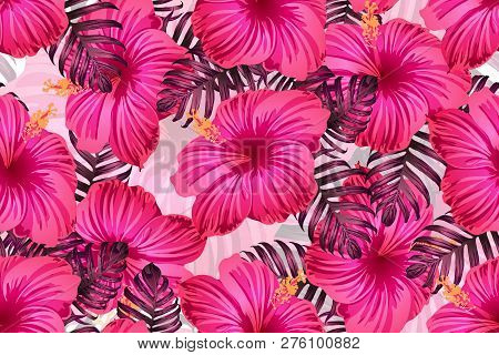 Tropical Pattern. Red Pink Magenta Exotic Summer Flower Vector Background. Beauty Fasion Monstera, P