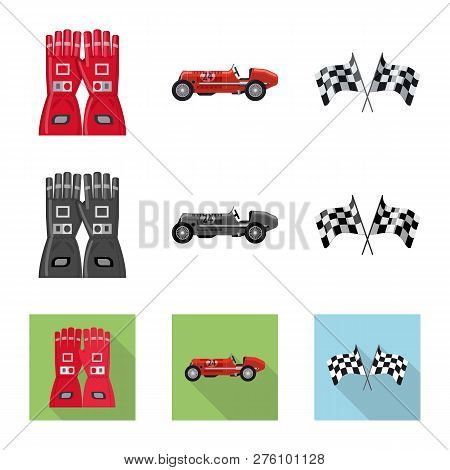 Vector Illustration Of Car And Rally Sign. Collection Of Car And Race Stock Vector Illustration.