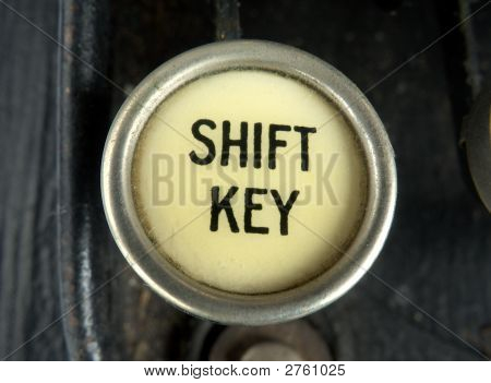 Close Up Of The Shift Key On An Old Typewriter.