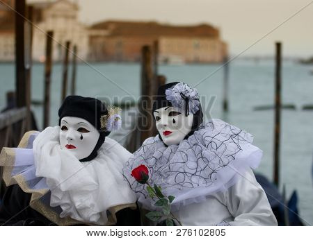 Two Costumes St Carnival Of Venice