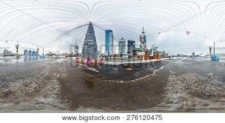 Minsk, Belarus - December 2018: Full Seamless Panorama 360 Degree Angle View In Equirectangular Proj