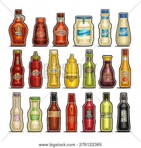 Vector Set Of Isolated Bottles, 20 Cut Out Outline Containers With Gourmet Sauces Product, Healthy M