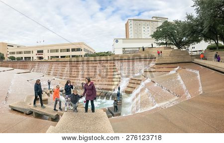 Water Gardens In Downtown Fort Worth With Visitors