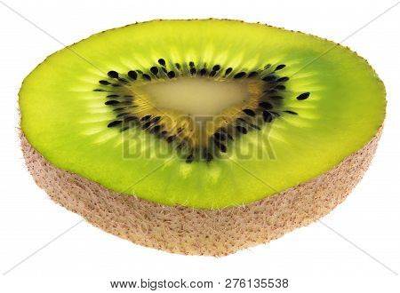 Large Slice Of Kiwi Fruit From An Angle Focus Stacked Isolated On White With Clipping Path