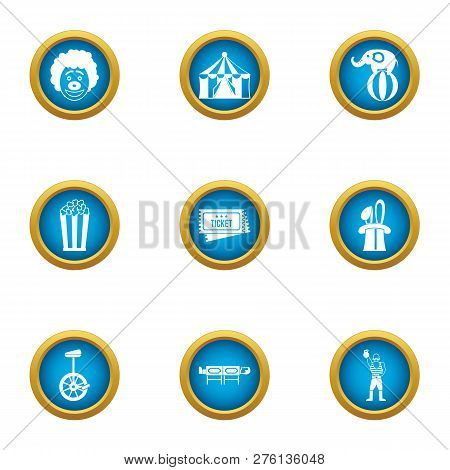 Circus reveal icons set. Flat set of 9 circus reveal icons for web isolated on white background poster